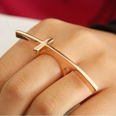 Hot New Fashion Punk Gold Plated Long Cross Finger Ring Size # 9