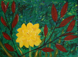 Details about Yellow Daffodil Red Leaves Original Acrylic Painting Flower  Impression 16 x 12