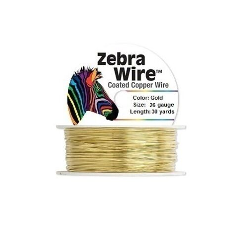 Zebra Coated Copper Wire Gold 26 Gauge 30 Yards
