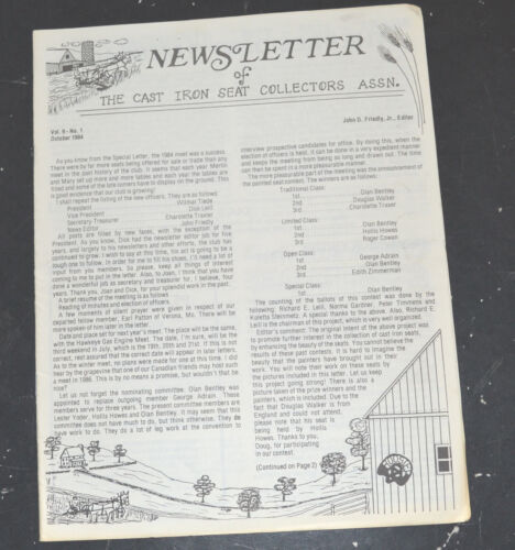 1984 CAST IRON SEAT COLLECTORS NEWSLETTER Ross Steiner Collection