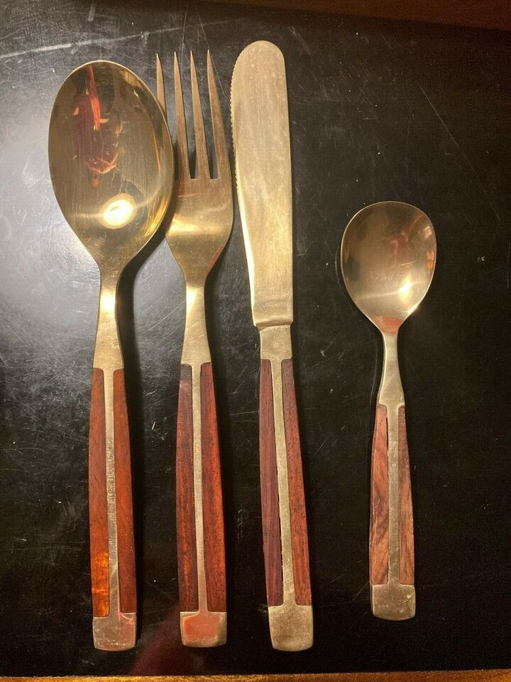 Bestik, kniv gaffel teske ske, retro / vintage messing