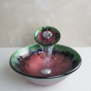 Waterfall Sink Bowl : ... tempered-Glass-Vessel-Vanity-Sink-bowl-with-Waterfall-faucet-Combo-Set