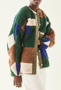 $675 Sandy Liang NEW Quilt Teddy Fleece Jacket S Colorblock Patchwork Faux Fur