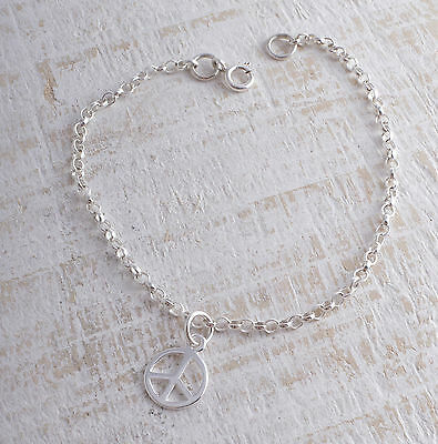 STERLING SILVER CND PEACE CHARM ANKLE CHAIN BRACELET ANKLET 925