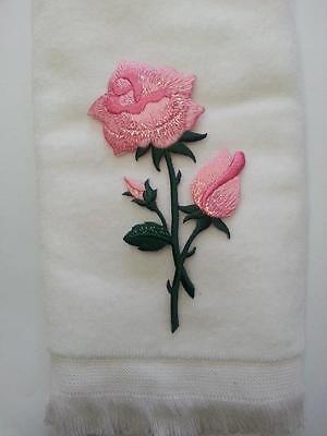 pink rose flower fingertip bath TOWEL FREE SHIP white applique valentine mom