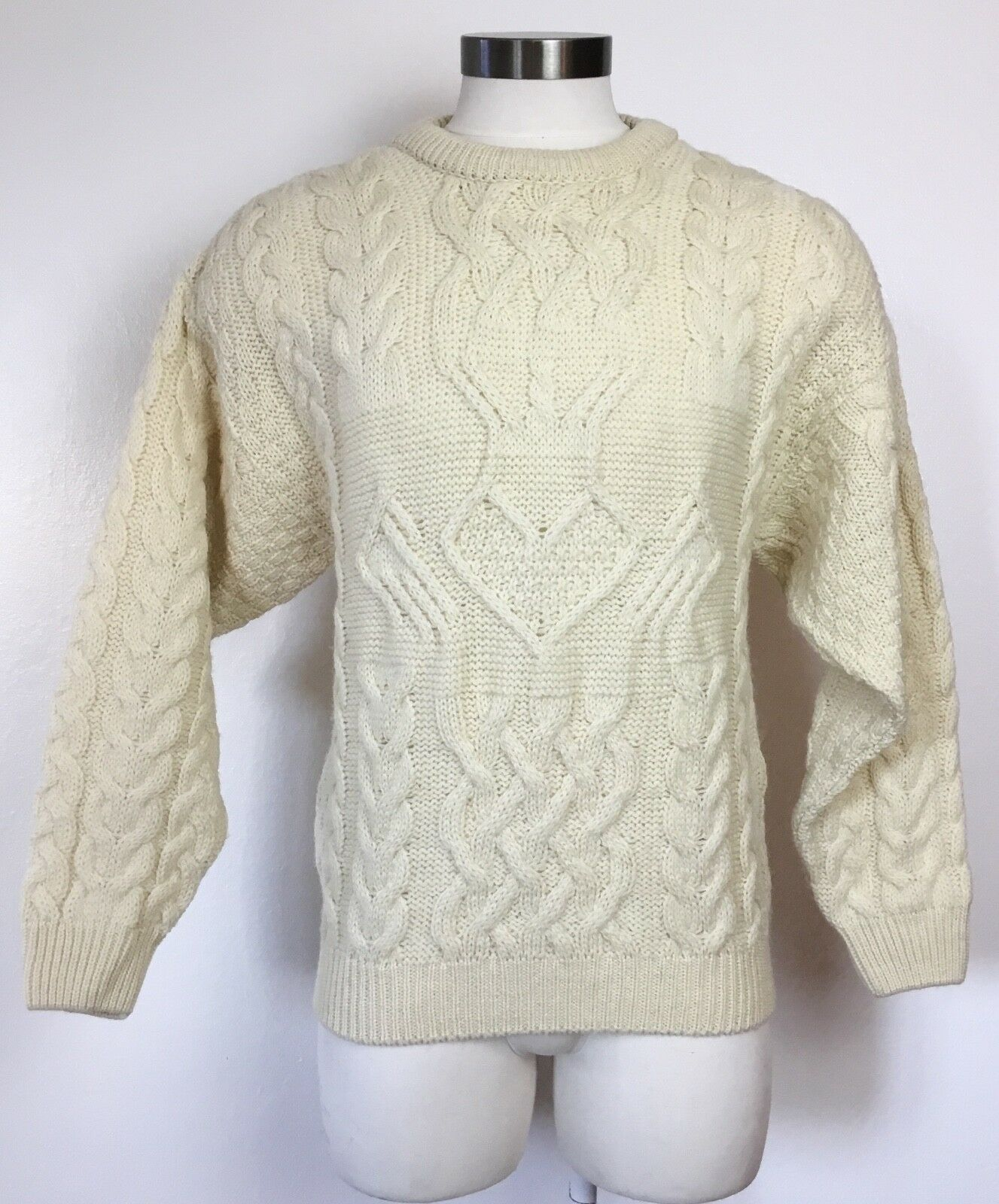 ARAN CRAFTS Sweater Cable Knit Wool Ireland