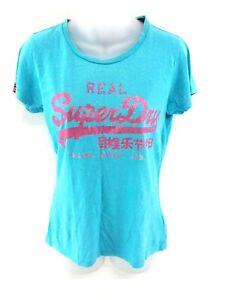 Haut-femme-SUPERDRY-T-Shirt-Top-S-S-bleu-coton-polyester-et-viscose