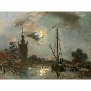 Jongkind-Overschie-Moonlight-Boat-River-Painting-XL-Wall-Art-Canvas-Print