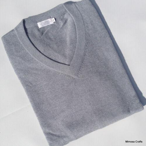 Mens Cashmere Sweater 100/% Cashmere Grey Color Plain V-neck Jumper M L /& XL