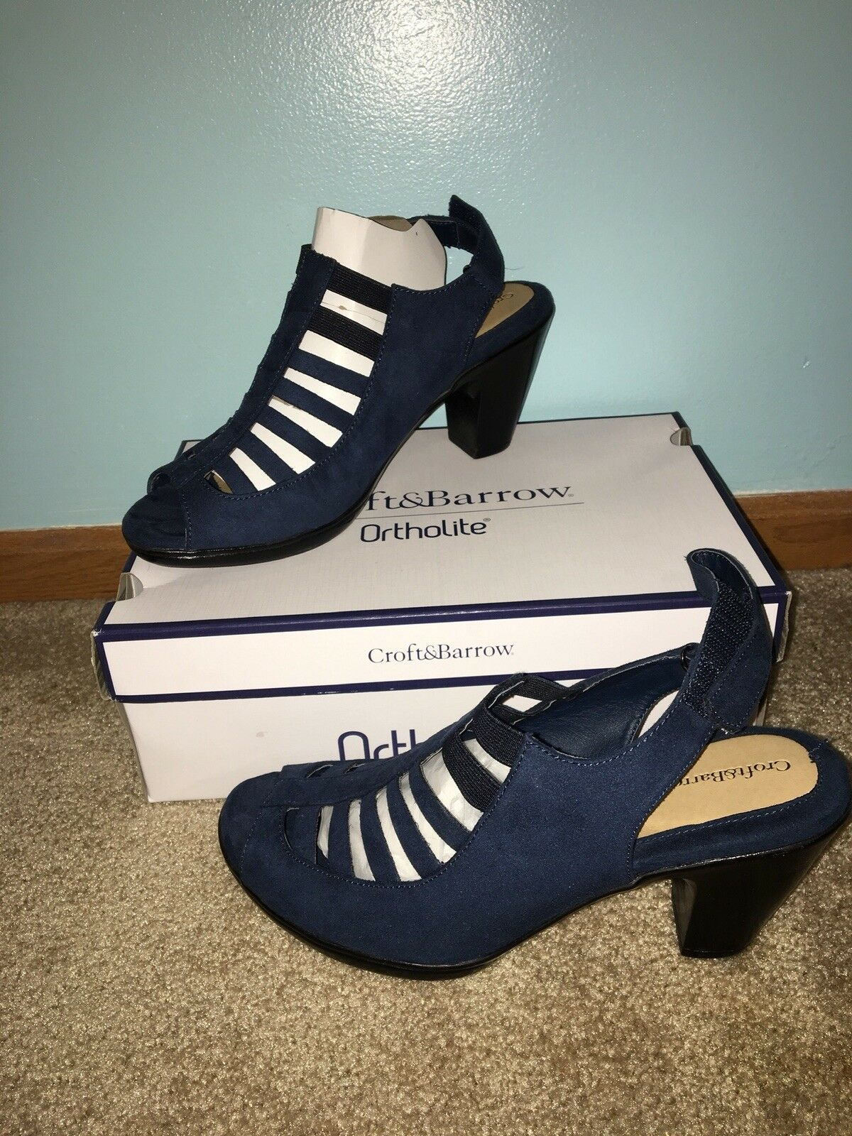 Spring Summer Women's Sandal Navy bluee Size 10 Cute Croft And Barrow Ortholite