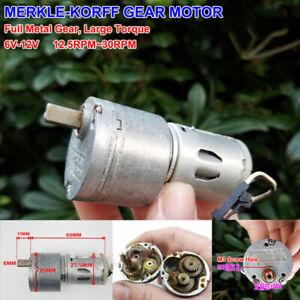 MERKLE-KORFF-Micro-Full-Metal-Gear-Motor-6V-12V-30RPM-Large-Torque-Geared-box
