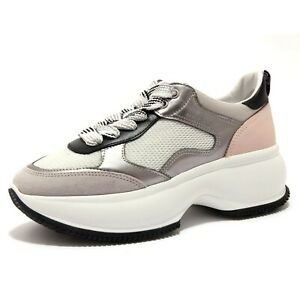 Details about 4390AC sneakers donna HOGAN MAXI I ACTIVE grey silver/pink shoes women
