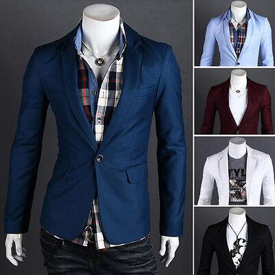 Fashion Stylish Men Casual Slim Fit One Button Suit Blazer Coat Jacket Tops