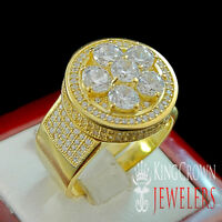 Real Silver Mens Flower Cluster Pave Set 3d Simulated Diamond Ring Stretchable