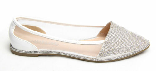 Women Ladies Diamante Ballets Sparkly Flats Shoes Point Ballerina Pumps Size UK