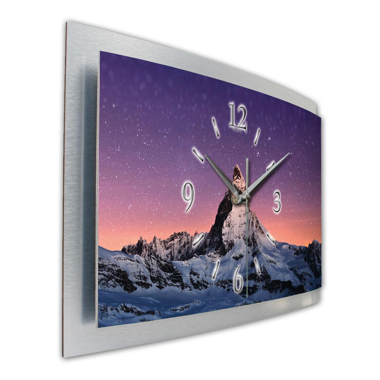 Matterhorn Sterne 3D Designer Wanduhr Funk Funkuhr aus Alu leise Kreative Feder