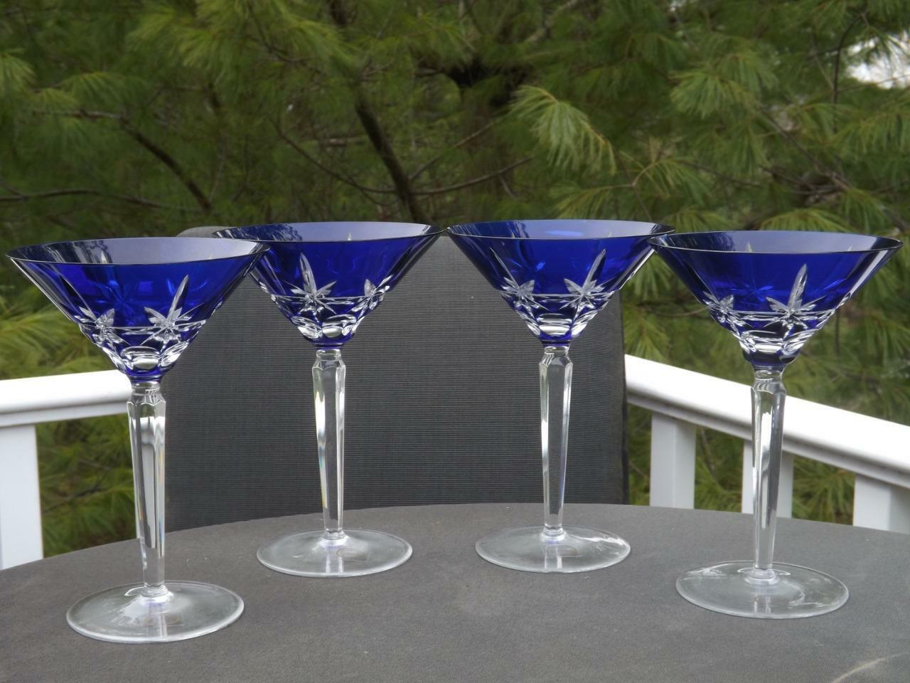 4 Neuf avec étiquettes Akja Coupe Verre Bleu Cobalt Verre à Martini 19.1cm Haut