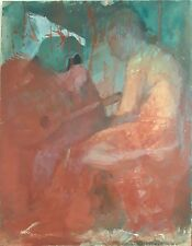 GUITARIST AND NUDE WOMAN. OIL / CANVAS. NO SIGNATURE. SPAIN. 19TH-20TH CENTURY