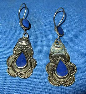 Earrings-Teardrop-Carnelian-or-Lapis-Afghan-Kuchi-Tribal-Alpaca-Silver-1-1-4-034