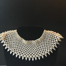 Vintage Faux Pearl Collar Statement Necklace 50's Very Lady Gaga