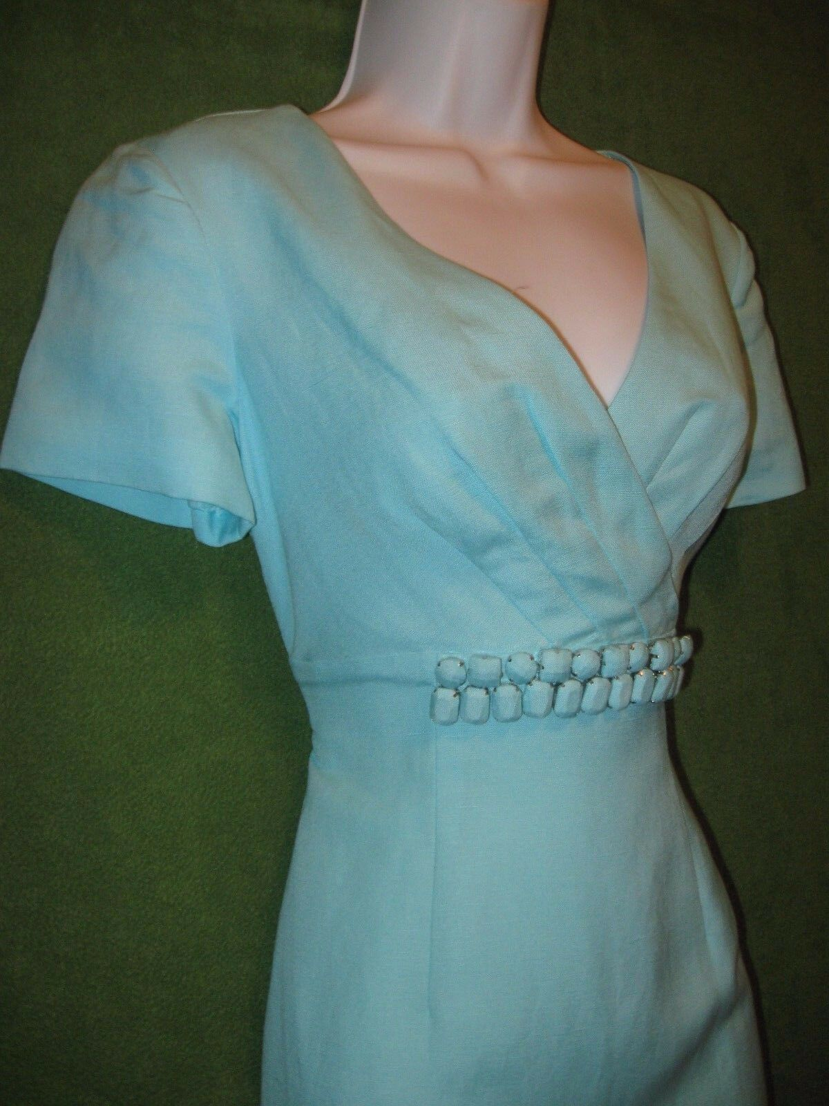 Alex Marie Patrice bluee Linen Empire Button Button Button Detail Work Social Tea Dress 2  119 17b7e6