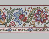 Burgundy Blue Jacobean Style Flower White Background Vtg Wallpaper Border Roll