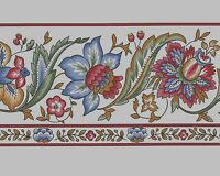 Burgundy Blue Jacobean Style Flower White Background Vtg Wallpaper Border Roll