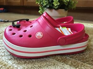NWT! Crocs Crocband Kids  Clogs Shoes Size 1 Heel Strap Raspberry ... 47cb664961b