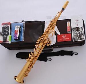 Professional-TaiShan-Built-in-Neck-Bb-Soprano-Saxophone-Straight-Gold-Sax-F-Key