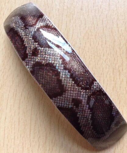 A Chunky Brown Snakeskin Print Barrette Hair Clip