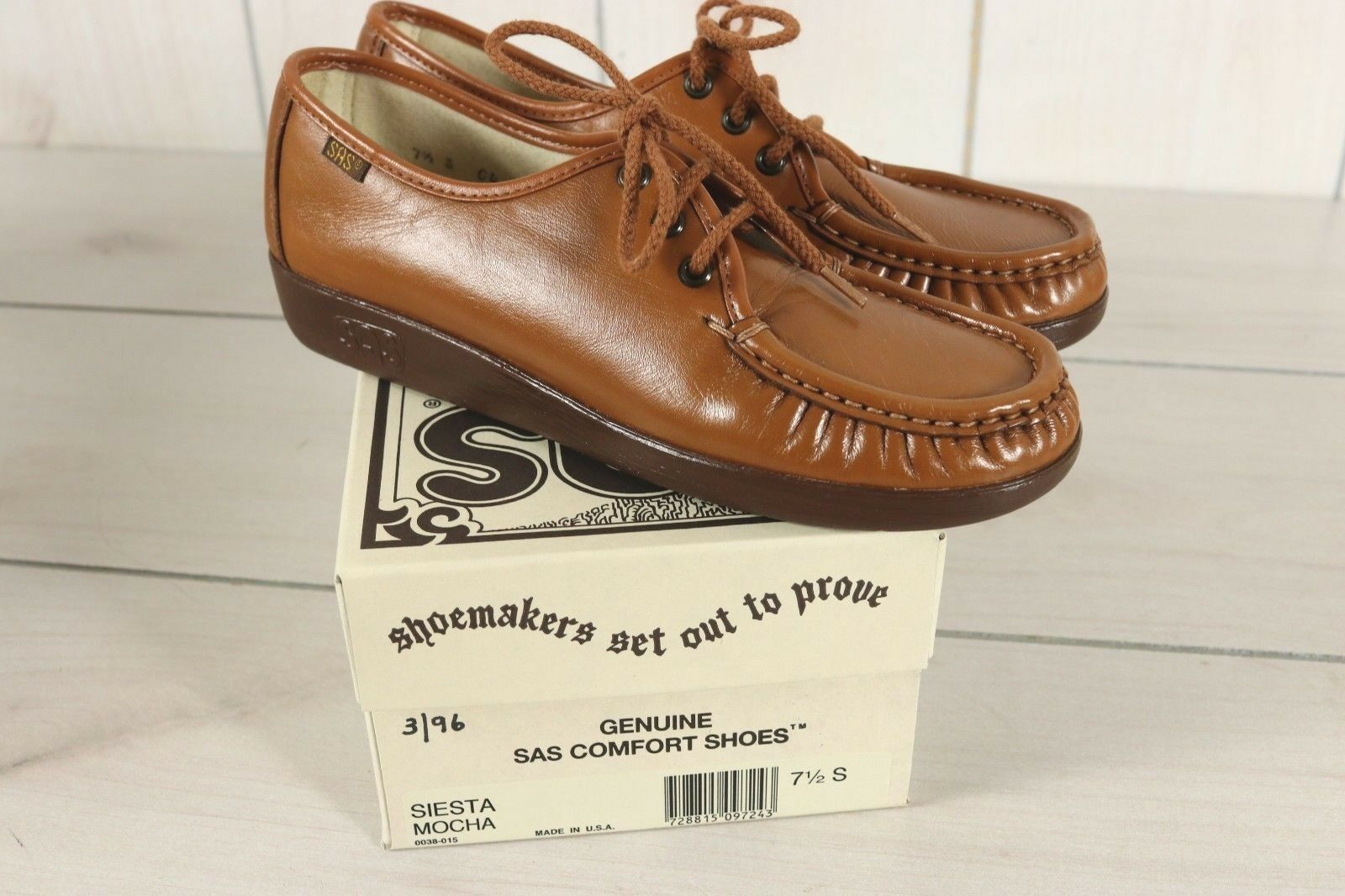 SAS Siesta femmes Sz 7-1 2 S N marron Leather Walking Oxford chaussures New In Box USA