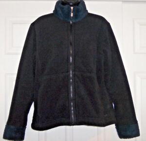 Black fleece jacket southwestern trim