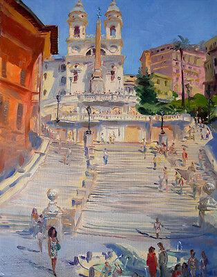 Piazza di Spagna Rome by Childe Hassam Giclee Fine ArtPrint Repro on Canvas