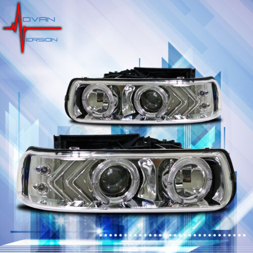 Winjet 1999-2006 Chevrolet Truck /& SUV Projector Headlights Chrome//Clear