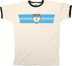903c93d96 Mens ARGENTINA Football T-Shirt WORLD CUP 2018 Russia Retro Strip ...