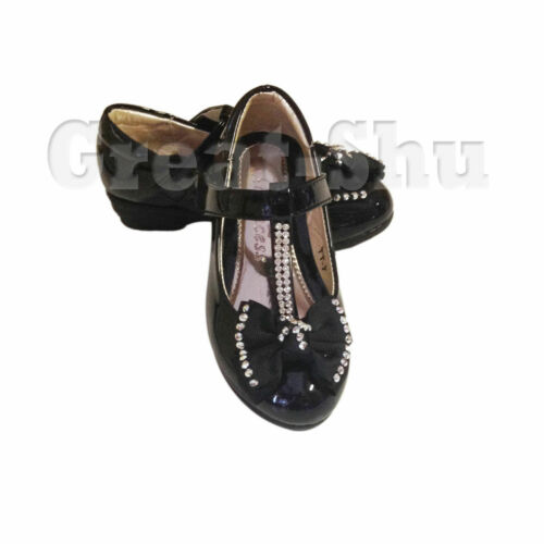 GIRLS CHILDRENS KIDS FLAT LOW HEEL DIAMANTE PARTY SHOES BRIDESMAID SANDALS SIZE
