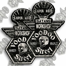 HOT ROD GARAGE - SHED BUILT, 2 stickers, petrol pump design, 81 custom, vintage.
