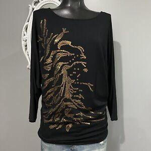 Medium-CAbi-Women-039-s-Black-Gold-Sequined-Dolman-Sleeve-Top-Style-152