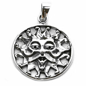 Solid sterling silver sun god sacred pagan wiccan mithra pendant image is loading solid sterling silver sun god sacred pagan wiccan mozeypictures Images
