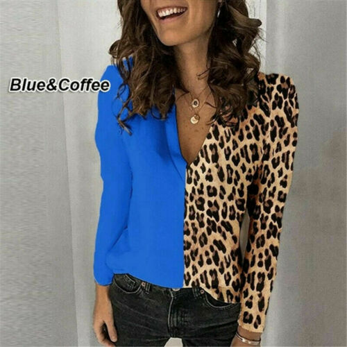 Womens V-Neck Leopard Print Shirt Tops Lady Long Sleeve Casual Blouse Plus Size