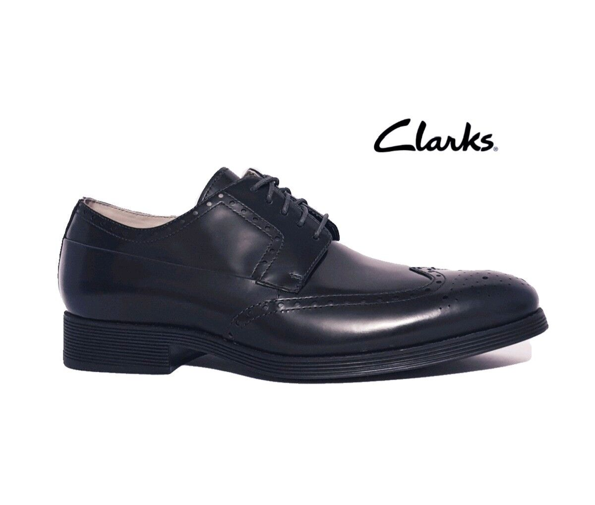 CLARKS GABWELL LIMIT  DARK NAVY UP BLUE LEATHER BROGUE LACE UP NAVY SHOES MENS 5d3f2e
