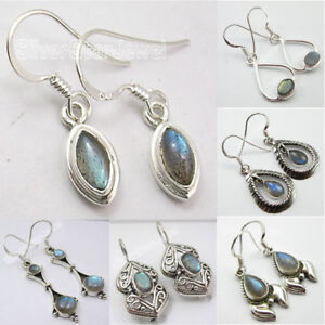 925-Sterling-Silver-Blue-Fire-LABRADORITE-GEMSTONE-DANGLING-Earrings-VARIATION