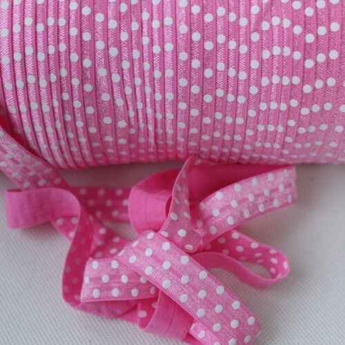 2m of Soft FOLD OVER ELASTIC 15mm POLKA DOT Headband Tutu Trim Clothing FOE