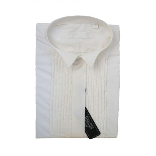 Boys Sebastian Le Blanc Ivory Formal Pleated Wing Collar Tuxedo Shirt