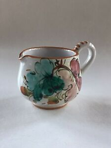 Vintage Ceramic Gravy Sauce Pitcher Creamer with Handle ~ Hand Painted Flowers