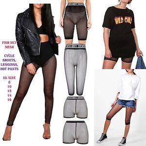 9632ee53b6af4 Image is loading New-Women-Ladies-Sporty-Fishnet-Mesh-Legging-cycling-