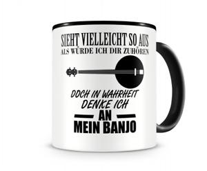 Ich denke an mein Banjo Musik Instrument Tasse Kaffeetasse Teetasse Kaffeepott