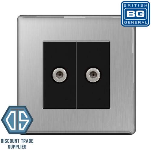 BG Brushed Steel Screwless 2 Gang Satin Chrome Satellite Sky Socket Black insert