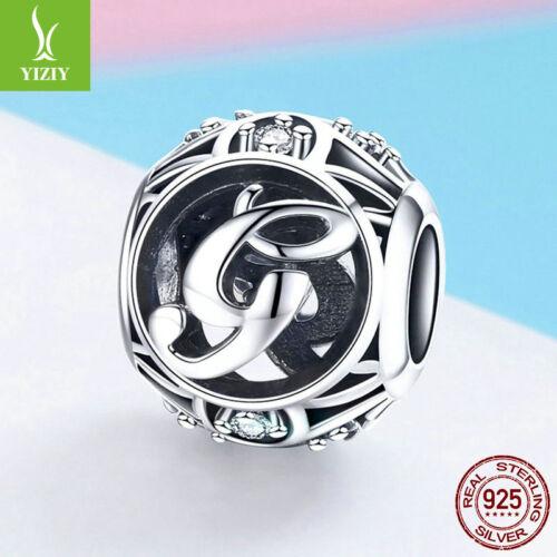 Facultatif Cristal Argent Sterling 925 charme 26 Lettres Alphabet Perles Pour Bracelet