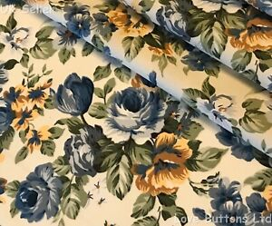 ROSE AND HUBBLE YELLOW FLORAL PRINT FABRIC 100/% COTTON 112cm WIDE PER METRE